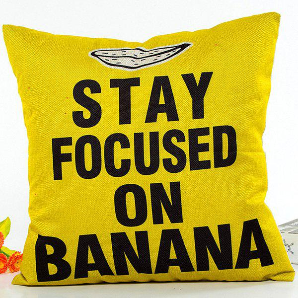 Stay Focused On Banana Letter Pattern Cushion Pillow Case - YELLOW