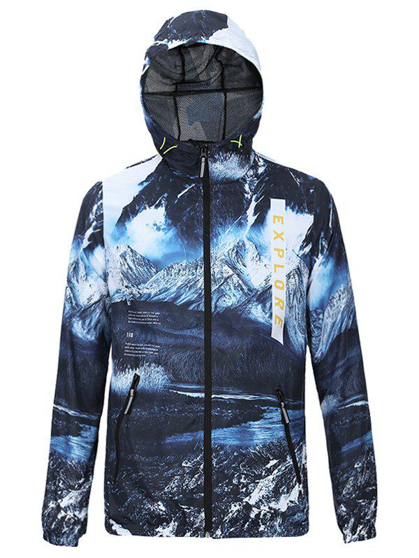 3D Jokul and Letters Print Hooded Zip-Up Jacket - BLUE M