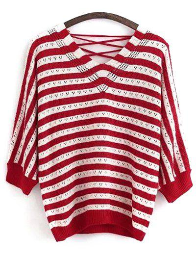 V Neck Back Lace Up Long Sleeve Striped SweaterWomen<br><br><br>Size: ONE SIZE<br>Color: RED
