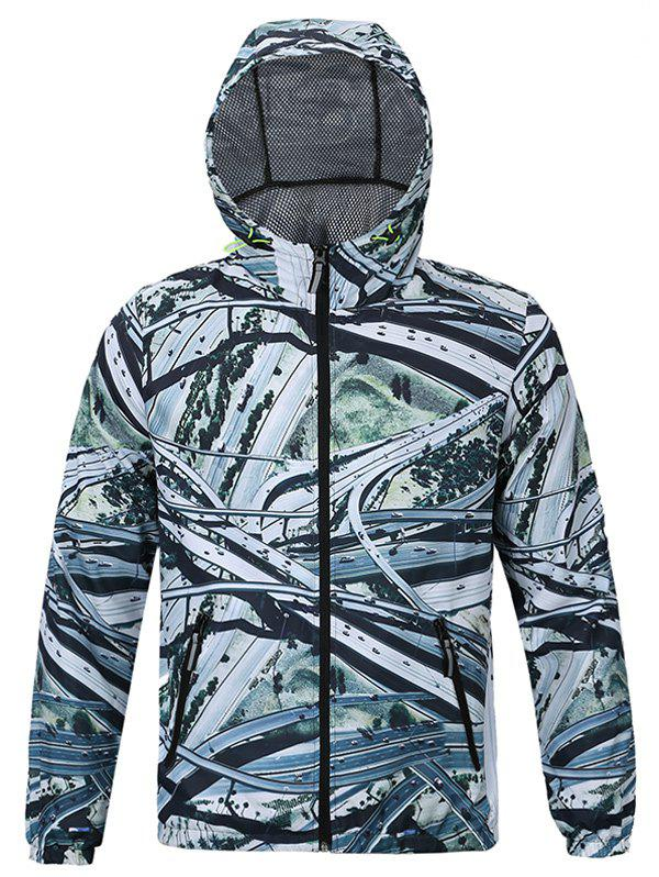 Highway 3D Print Hooded Jacket Zip-Up - multicolorcolore M