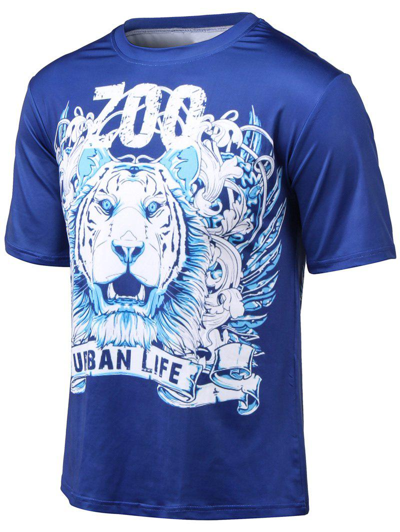 Plus Size Tiger and Letter Print Round Neck Short Sleeve T-Shirt - BLUE 3XL