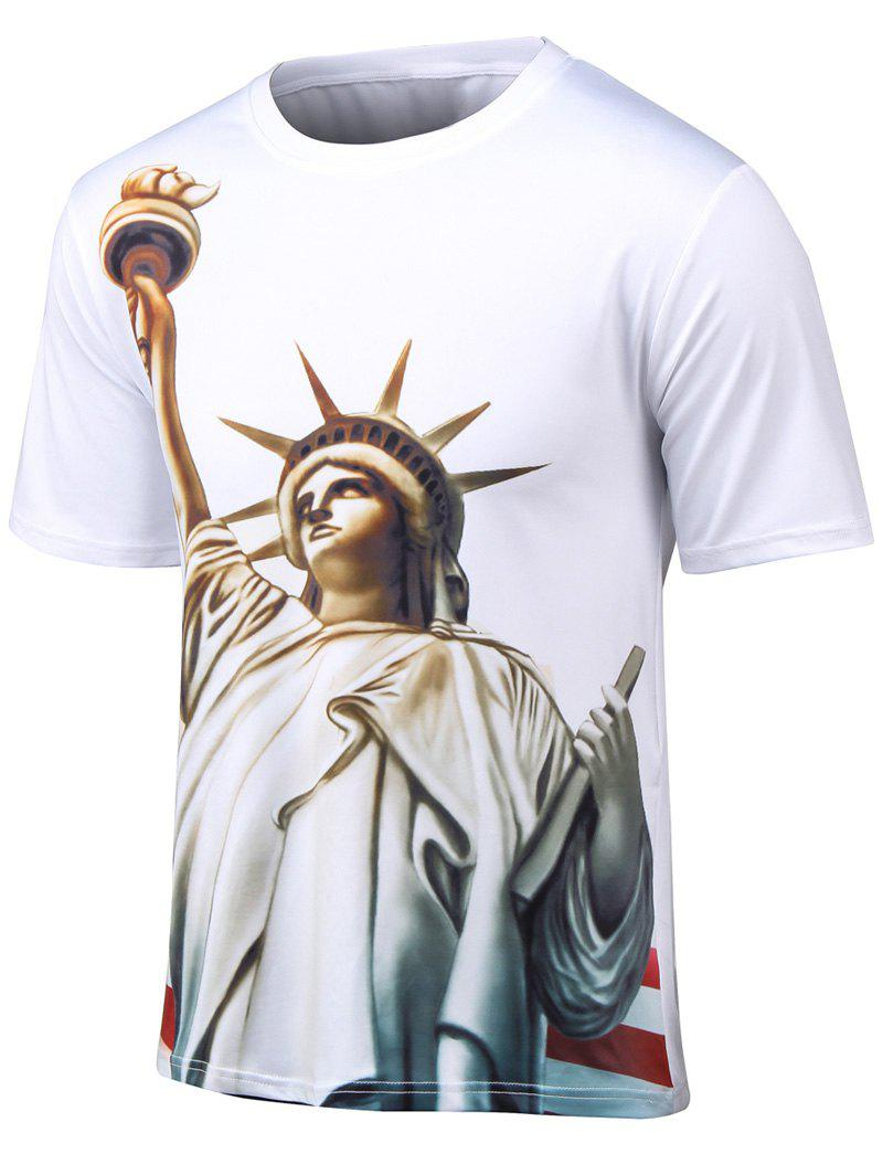 Plus Size 3D Statue of Liberty Print Round Neck Short Sleeve T-Shirt - WHITE L
