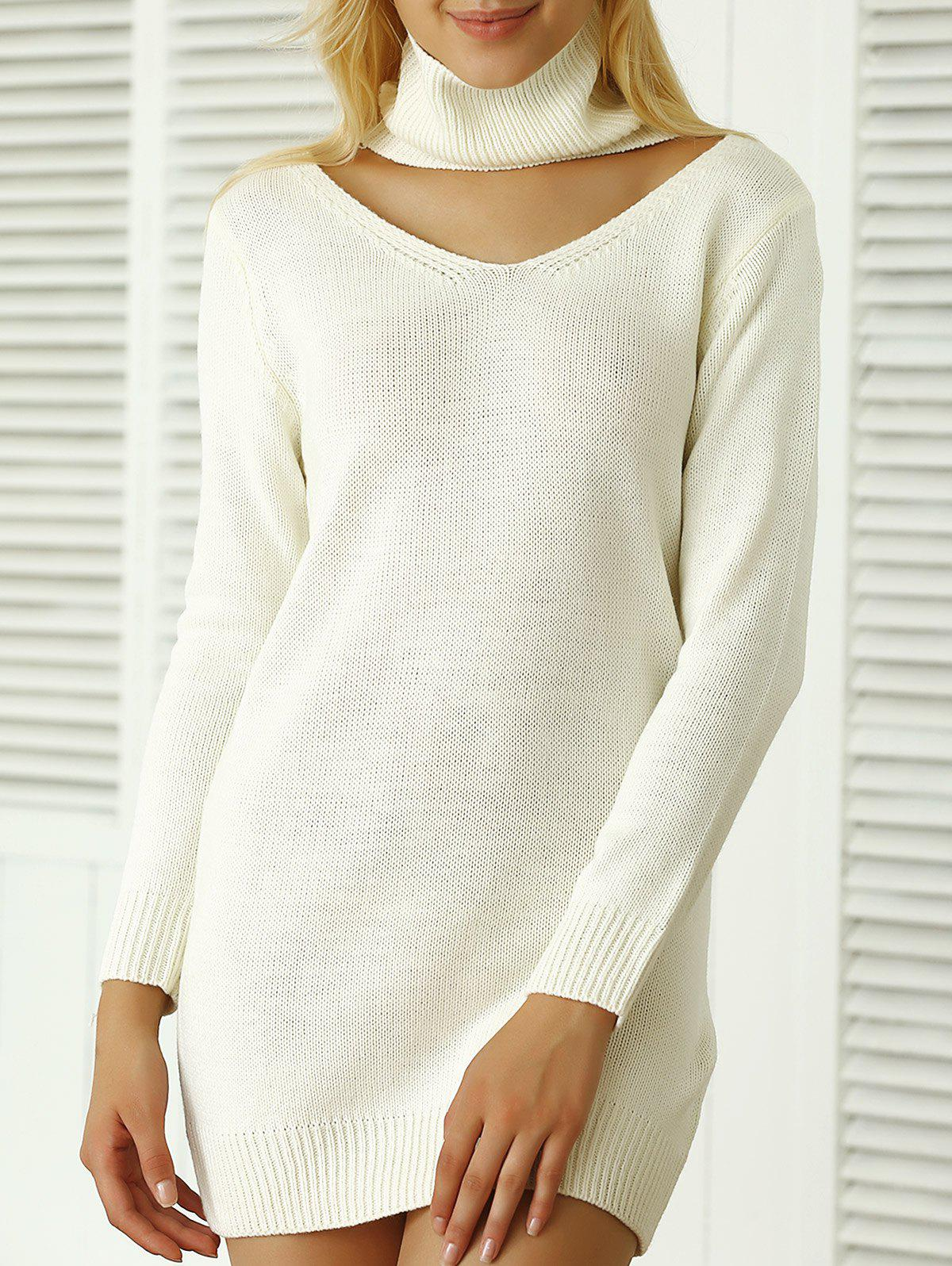 Côtelé uni Sweater Dress - Blanc ONE SIZE