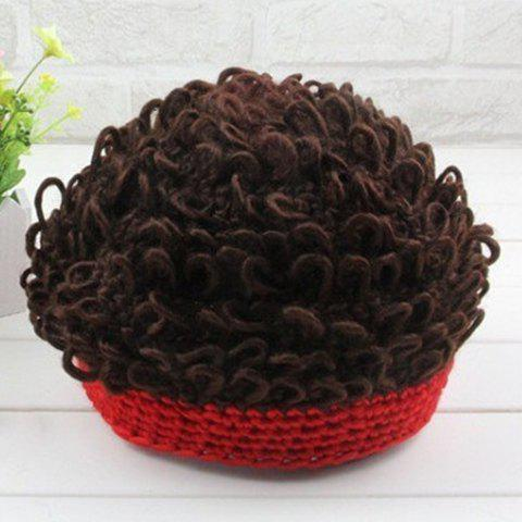Warm Fake Afro Hair Knitted Beanie - RED