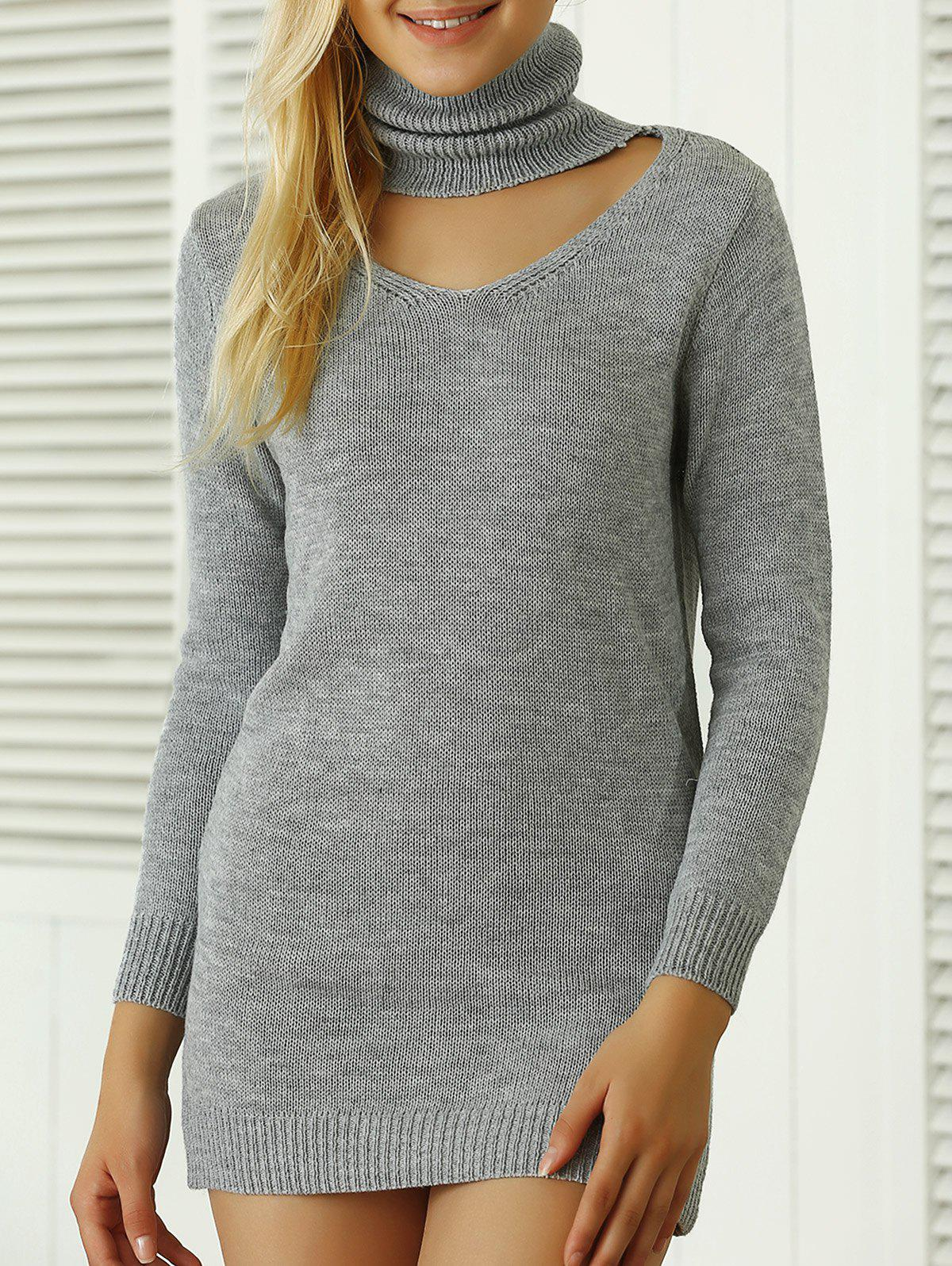 Roll Neck Ribbed Plain Mini Jumper Dress - GRAY ONE SIZE