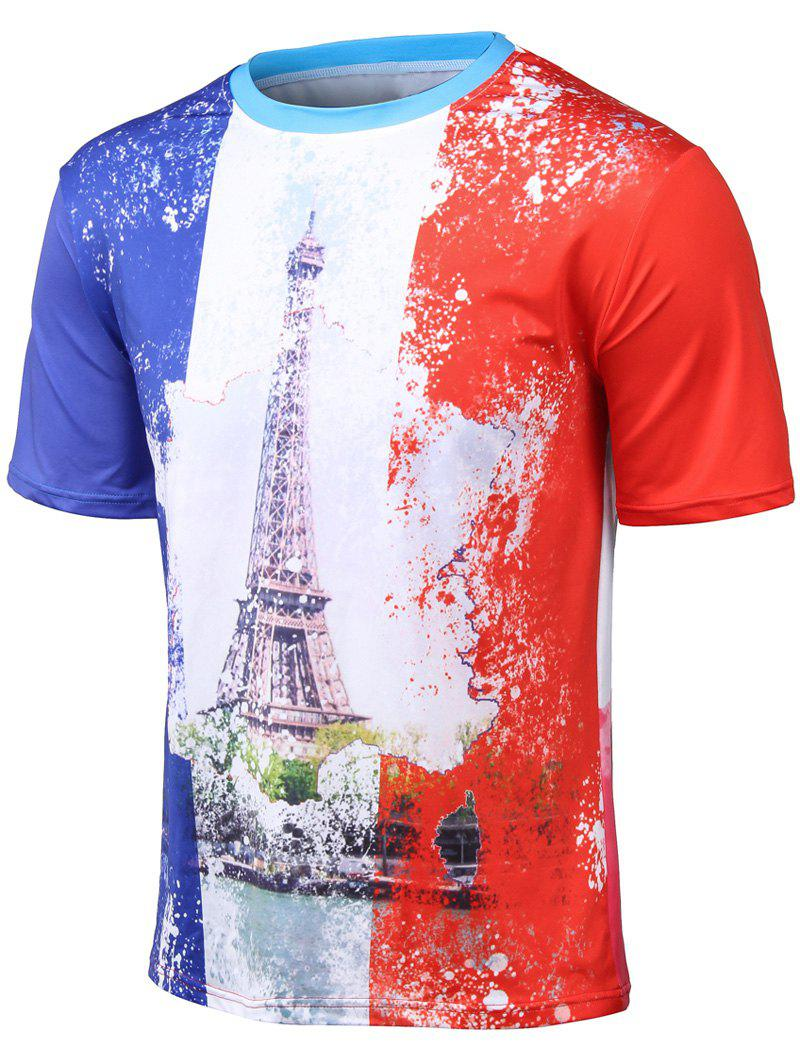 Plus Size 3D Watercolor Iron Tower Print Round Neck Short Sleeve T-Shirt - COLORMIX L