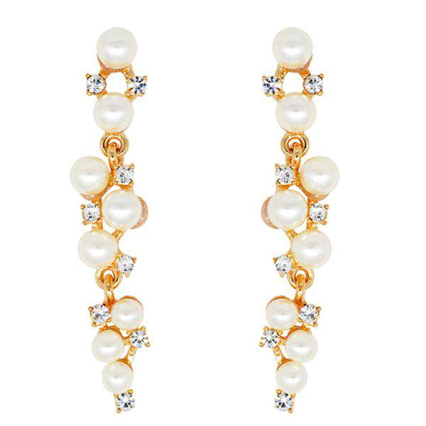 Layered Rhinestone Faux Pearl EarringsJewelry<br><br><br>Color: GOLDEN