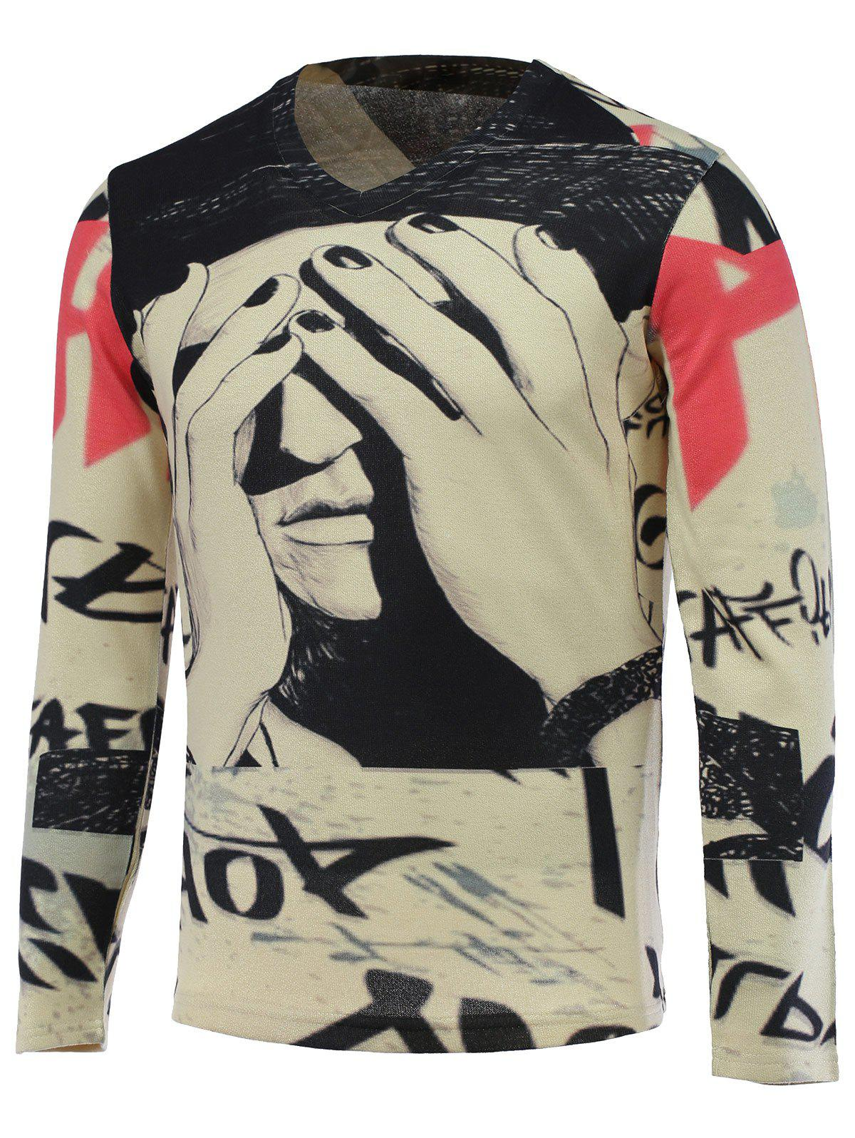 V-Neck 3D Figure Print Long Sleeve Sweater
