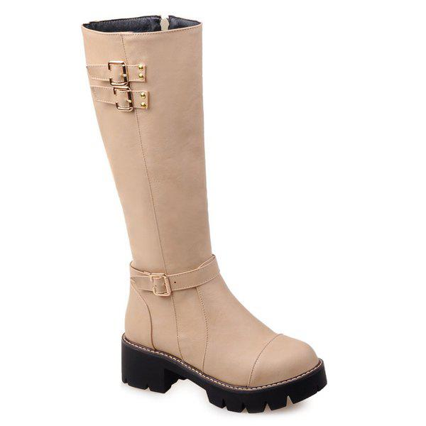 Chunky Heel Buckles Embellished Mid-Calf Boots - APRICOT 40