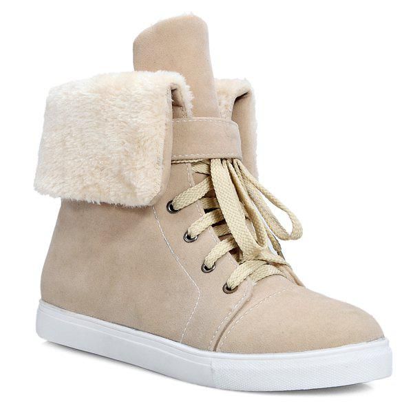 Casual Lace-Up Fold Down Short Boots - APRICOT 42
