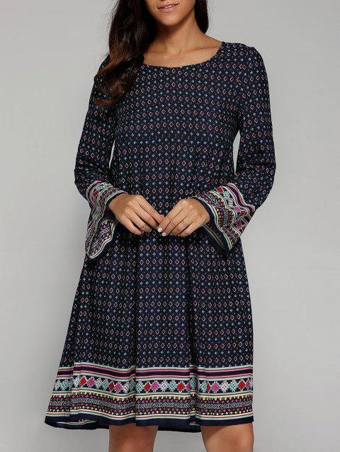 Ethnique Tribal Print Smock Dress - Bleu Violet S