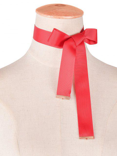 Alliage velours bowknot Collier Choker - Rouge