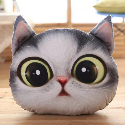 3D Cartoon Big Eyes Cathead Short Plush Removable Pillow - GRAY