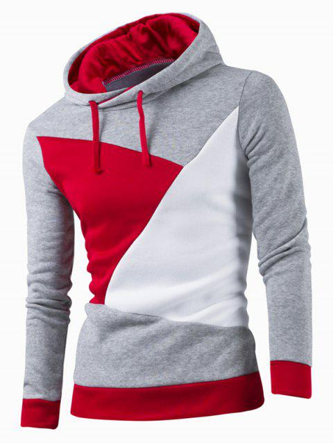 IZZUMI Stylish Color Block Spliced Slim Fit Casual Long Sleeve Hoodies For Men - LIGHT GRAY L