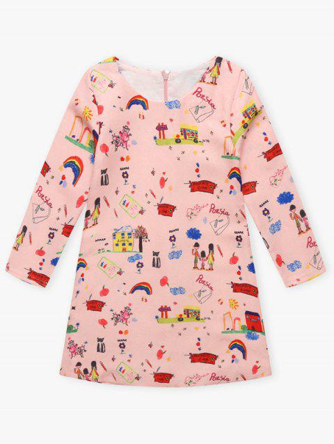 Cartoon Kids Imprimer Mini-robe - ROSE PÂLE 100