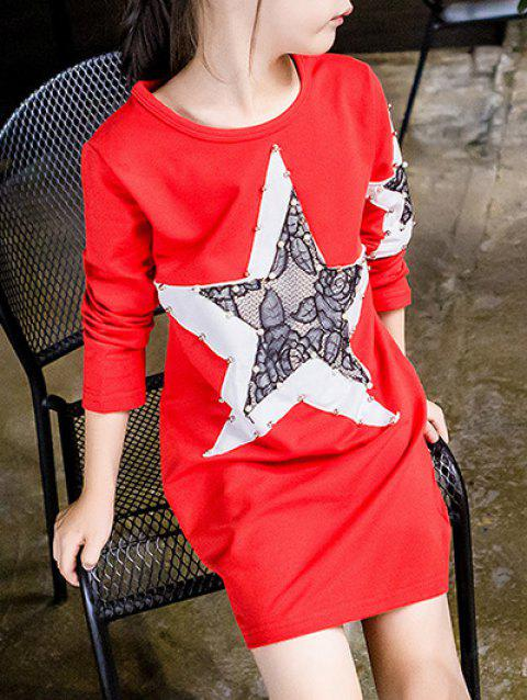 Étoile Spliced ​​perlée Robe t-shirt - Rouge 130