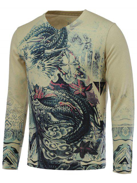 3D Dragon Print V-Neck Pull à manches longues - multicolore L