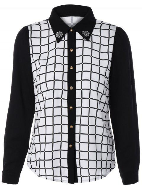 Color Block Checked Long Sleeve Shirt - WHITE L