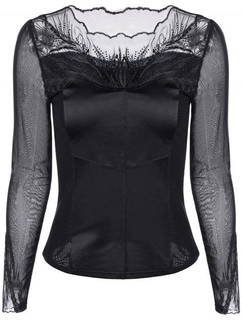 Mesh-Insert Embroidered Slimming Blouse - BLACK M