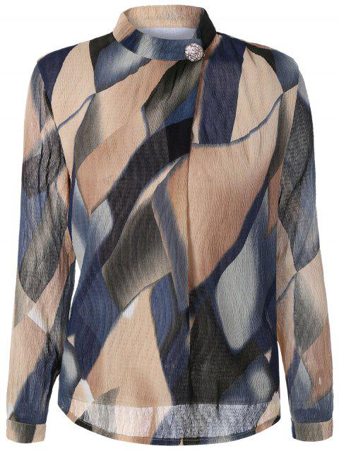 Stand Collar Printed Texture Blouse - APRICOT L