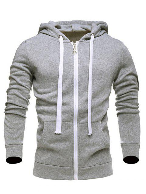 dc55213fcaf 41% OFF  2019 Long Sleeves Zip Up Drawstring Plain Hoodie In LIGHT ...