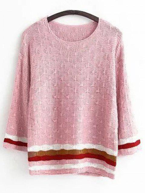 Col rond manches longues Pull rayé Jacquard - ROSE PÂLE ONE SIZE