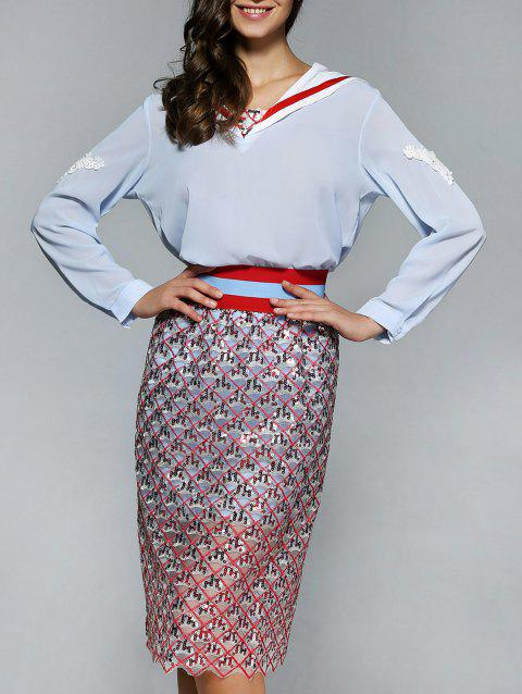 Long Sleeve Blouse and Sequined Skirt - RED L