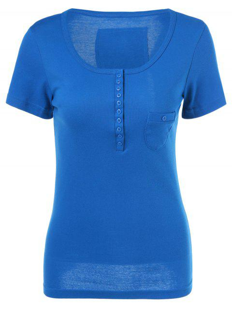 Single Breasted Knit Tee - BLUE ONE SIZE