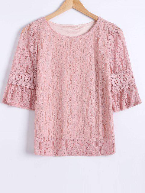 Laciness Flare Sleeves Floral T-Shirt - LIGHT PINK S
