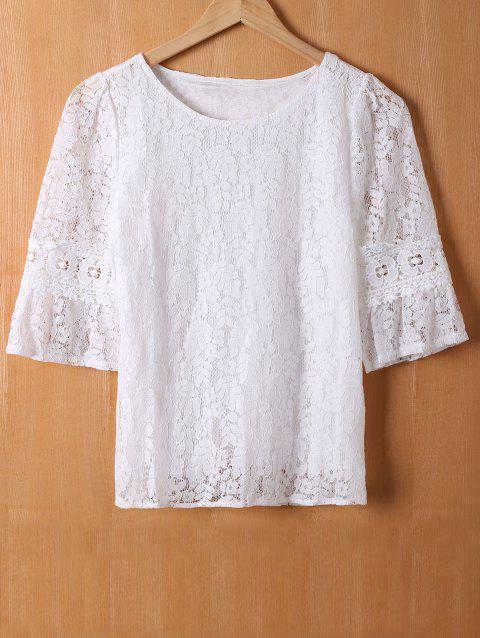 Laciness Flare Sleeves Floral T-Shirt - WHITE XL