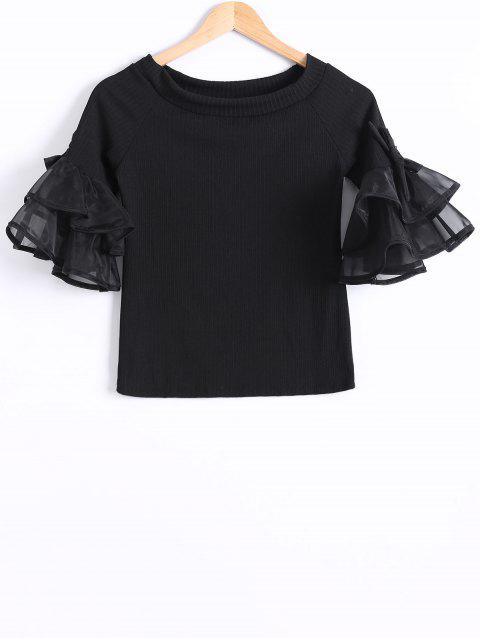 Organza Flounce Sleeves Tiered T-Shirt - BLACK ONE SIZE