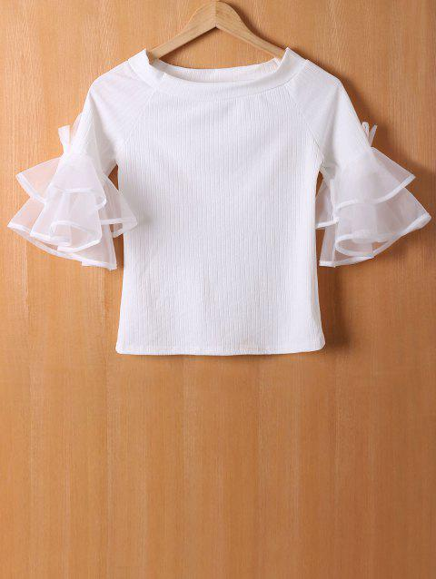 Organza Flounce Sleeves Tiered T-Shirt - WHITE ONE SIZE