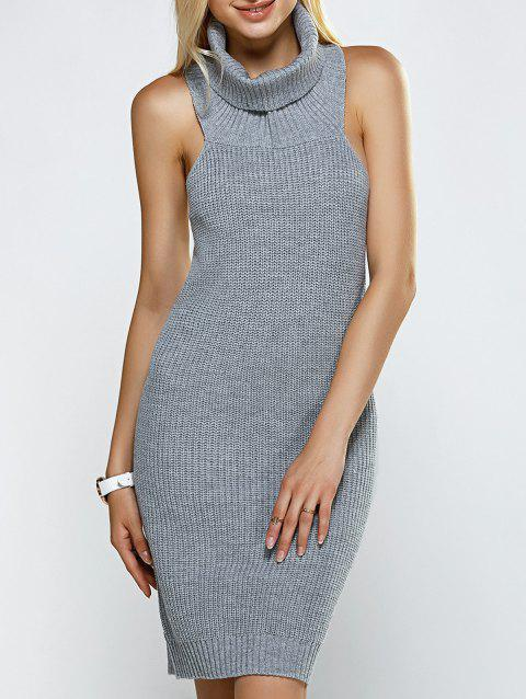 5e595c84eb1 17% OFF  2019 Turtleneck Backless Ribbed Sleeveless Sweater Dress In ...