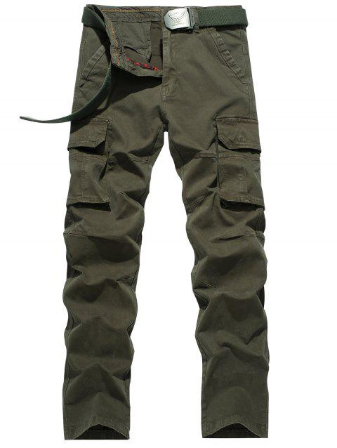 Plus Size Flap Pocket design Straight Leg Cargo - Vert Armée 36