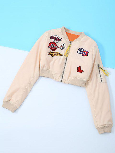 Appliques Embroidery Long Sleeve Jacket - NUDE M