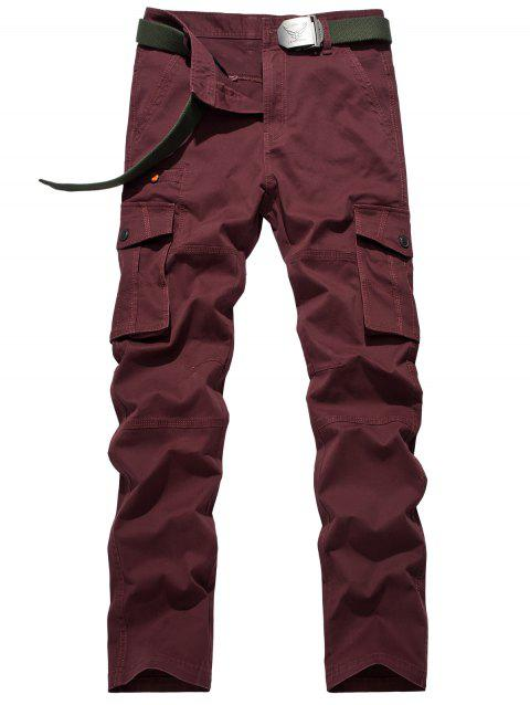 Pantalon en plus Taille Bouton Flap Pocket design Zipper Fly Cargo - Rouge vineux 29