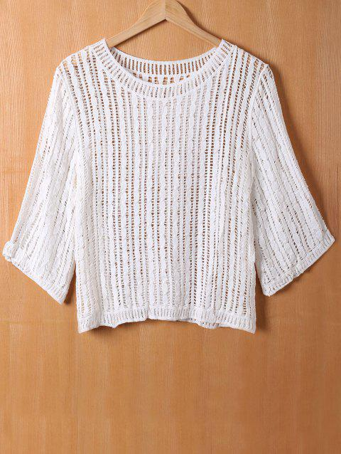 Loose Crochet Openwork Blouse - WHITE ONE SIZE