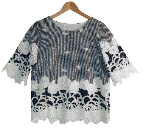 Lace Spliced Hollow Out Striped Blouse - PURPLISH BLUE ONE SIZE