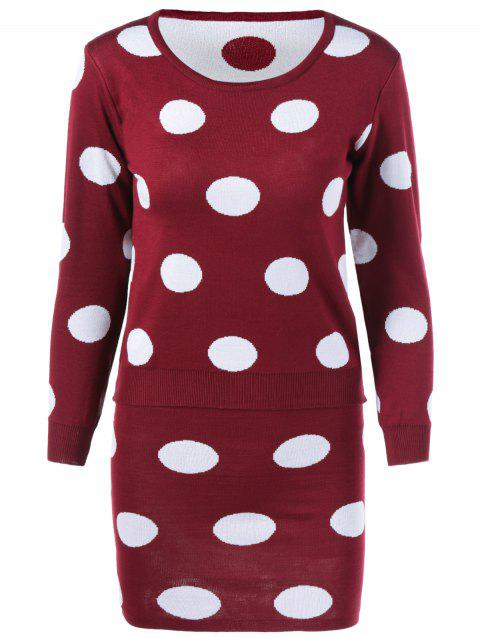 Polka Dot Sweater + Skirt Suit - WINE RED ONE SIZE
