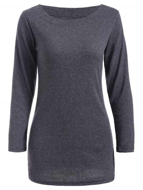 Round Neck flocage Slimming T-shirt - Gris ONE SIZE
