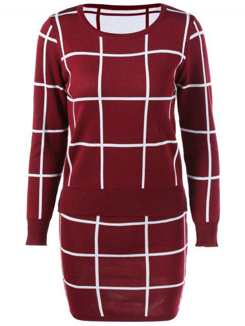 Plaid Sweater + Skirt Suit - Vin rouge ONE SIZE