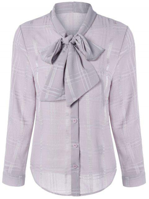 Bowknot Tie manches longues Plaided Shirt - Rose Nu L