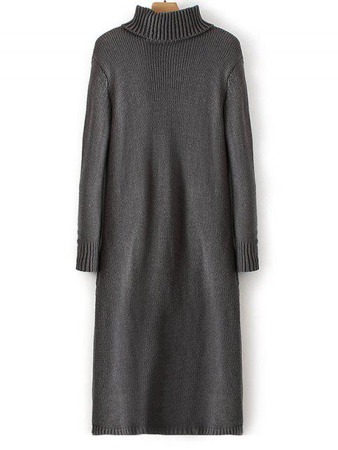 Manches côtelé à col roulé Chandail Long Dress - Gris ONE SIZE