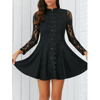 Elegant Button Design Slimming Lace Dress