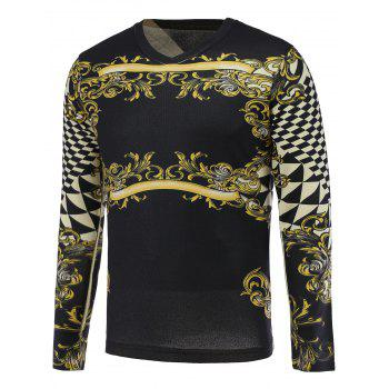 3D Floral and Geometric Print V-Neck Long Sleeve Sweater