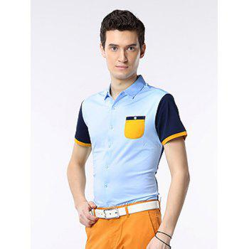 Short Sleeve Color Splicing Breast Pocket Shirt