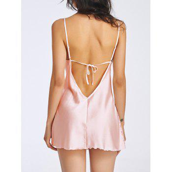 Charming Cami Lace Splicing Backless Women's Babydoll - M M