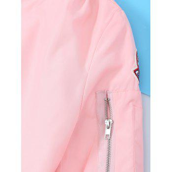 Patched Zipper Bomber Jacket - PINK S
