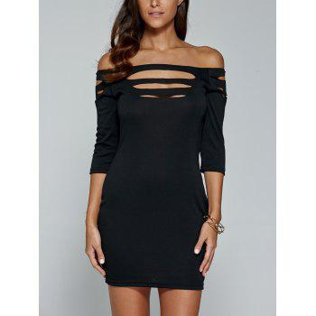 Off The Shoulder Hollow Out Mini Sheath Dress - BLACK XL