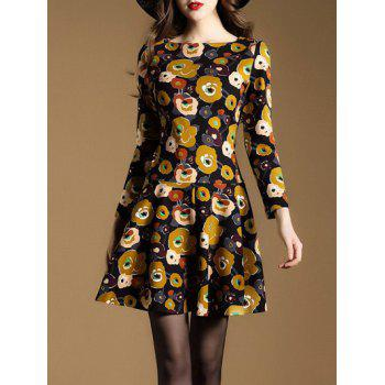 Retro Floral Printed A Line Dress